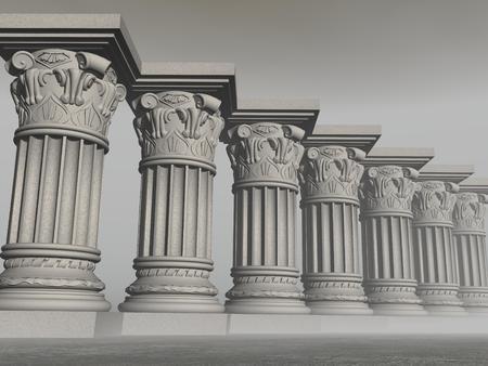 いくつかの石の列または霧の灰色の背景の柱