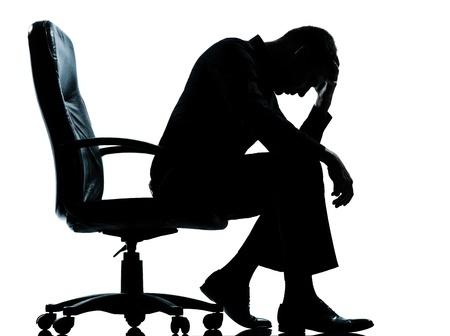 白人のビジネス男疲れ悲しい絶望シルエット白い背景で隔離