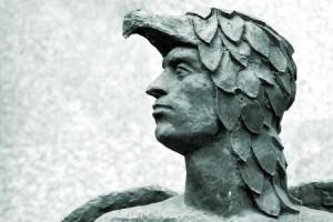 イカルス骨董品彫刻の頭