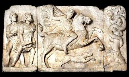 イノシシ狩りシーン、古代ローマ彫刻